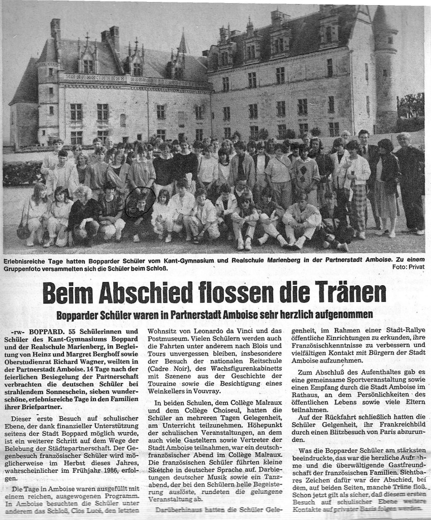 Boppard-Amboise-Geschichte 1984